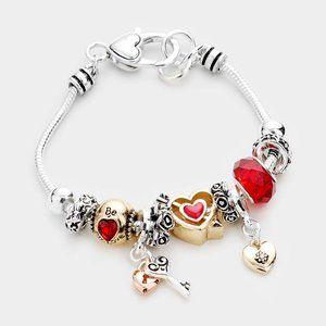 Lock Heart Charm Multi Bead Bracelet